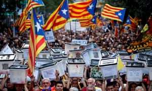 Thousands of people attend a protest on the occasion of the first anniversary of the Catalan illegal independence referendum in Barcelona, Spain.