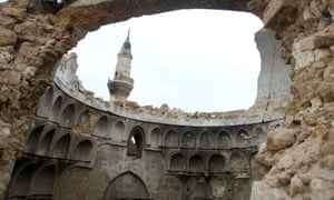 A damaged dome of a mosque in the Old City of Aleppo.