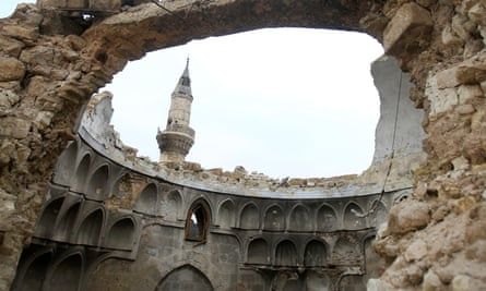 A damaged mosque in Aleppo, Syria, in 2017.