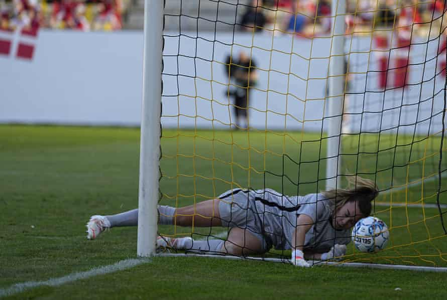 Mackenzie Arnold concedes the second of two own goals in Horsens.