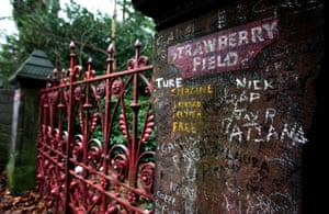 The gates of Strawberry Field in Liverpool immortalised by the Beatles song where John Lennon used to play as a child.