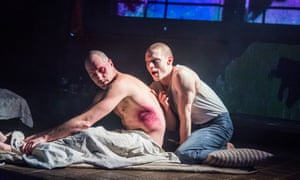 Declan Bennett as Valentin and Samuel Barnett as Molina in Kiss of the Spider Woman, directed by Laurie Sansom, at Menier Chocolate Factory, London.