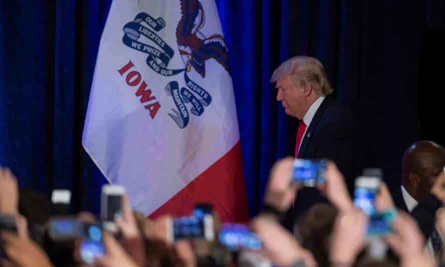 Exit stage left? Trump's second-place finish in Iowa left the former frontrunner looking glum.
