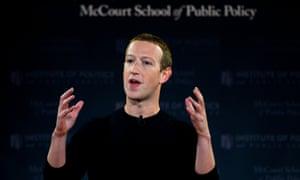Mark Zuckerberg speaks at Georgetown University on Thursday.