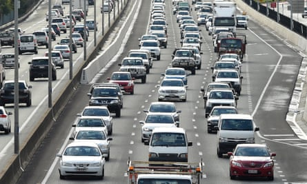 Traffic is seen on the Pacific Highway in Brisbane