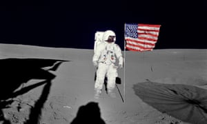 Edgar Mitchell photographed on the lunar surface by his fellow astronaut Alan Shepard in 1971.