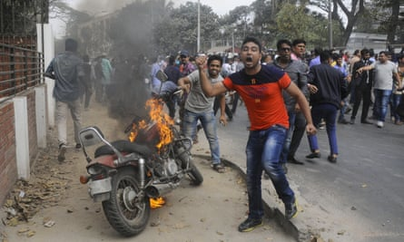 Zia's supporters protest in Dhaka, Bangladesh.