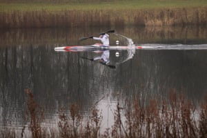 British sprint canoeist Liam Heath MBE during a morning training session at Dorney Lake, Buckinghamshire in February 2021.
