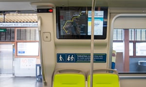 Highly visible priority seating on a Bay Area Rapid Transport train, San Francisco.