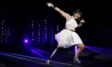 Kaede Maegawa, a Paralympian, participates in a fashion show held in Tokyo in conjunction with the opening of the Tokyo Paralympic Games, now scheduled to open on 24 August 2021.