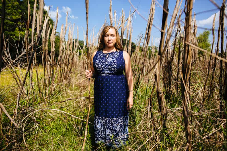 One year after Angie was denied a crop loan, dead sugarcane still stands in one of her former leased fields in New Iberia, Louisiana.