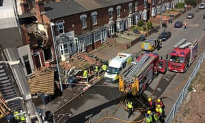 Emergency services attend the scene of the explosion in Ladywood, Birmingham.