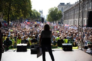 Laura Parker, the national coordinator of Momentum, addresses the crowds in London
