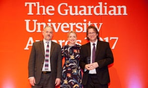 Host Lauren Laverne presents the Social and community impact award to Heriot-Watt University at the Guardian University Awards 2017 held at LSO St Luke's in Old Street, London. 29 March 2017