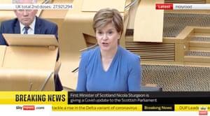 Nicola Sturgeon addressing MSPs this afternoon
