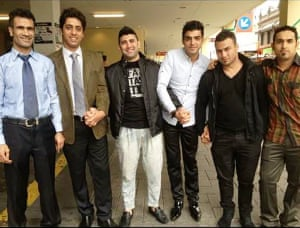 Fazal Chegeni (left) with fellow refugees in Melbourne. From left to right, Fazel Chegeni, Bobby, Reza, an unnamed friend, Mortezar and Dadashi.