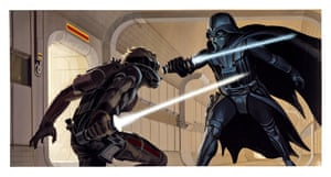 "Star Wars (1977) ""Laser Duel"" by Ralph McQuarrie (February 14–15, 1975) illustrates the confrontation between Deak Starkiller and Darth Vader recounted in the second draft of the script. McQuarrie's set design was copied exactly for the Rebel Blockade Runner set built at the last minute"