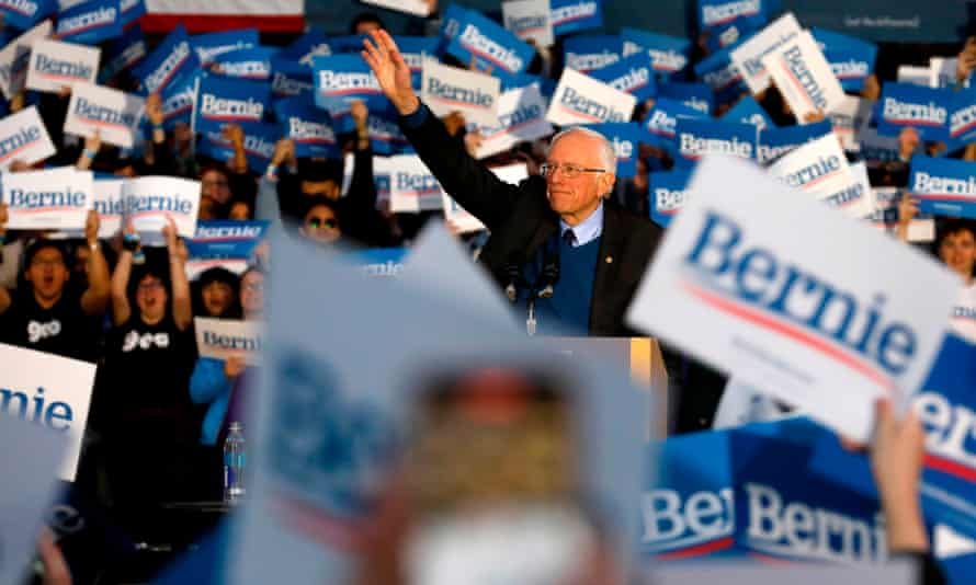 Bernie Sanders addresses supporters during a campaign rally at the University Michiganin Ann Arbor on 8 March 2020.
