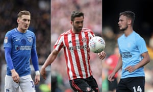 Ronan Curtis of Portsmouth, Sunderland's Will Grigg and Brandon Goodship of Southend. Composite photographs by Getty Images and Shutterstock