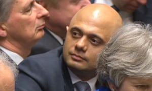 Newly-appointed home secretary Sajid Javid listens at PMQs
