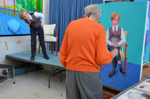 'I could go on for the rest of my days' … David Hockney paints Rufus Hale in Los Angeles, November 2015 © David Hockney.