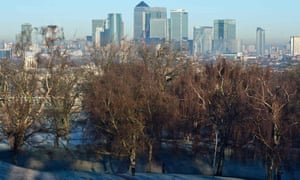London's Canary Wharf financial district is viewed from Greenwich Park