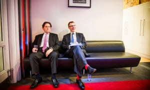 IFS director Paul Johnson (right) and Nigel Lawson, a former chancellor of the exchequer, wait to appear on Sky TV.