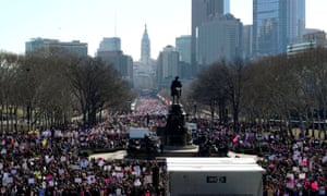 Crowds gather to participate in the second annual Women's March in Philadelphia, Pennsylvania