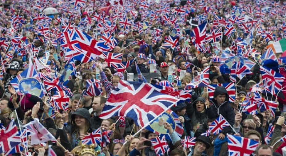 Crowds amid a sea of union jacks during the 2012 diamond jubilee celebrations.