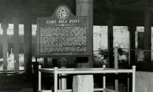 The Zero Mile Post Marker once marked the terminus of the Western and Atlantic Railroad in Atlanta.