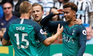 Dele Alli celebrates with Harry Kane and Eric Dier after nodding home Tottenham's winner