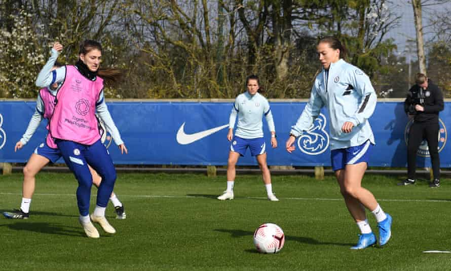 Fran Kirby on the ball during Chelsea training as they prepare for Atlético Madrid.