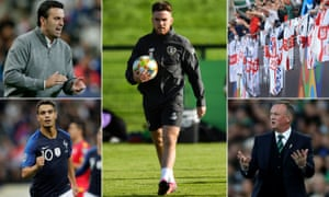Clockwise from top left: Koldo Álvarez, coach of Andorra, Republic of Ireland's Aaron Connolly, England supporters, Northern Ireland manager Michael O'Neill and France's Wissam Ben Yedder