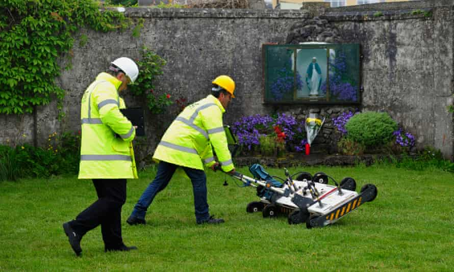 Engineers search the mass grave at the former mother and baby home in Tuam, County Galway.