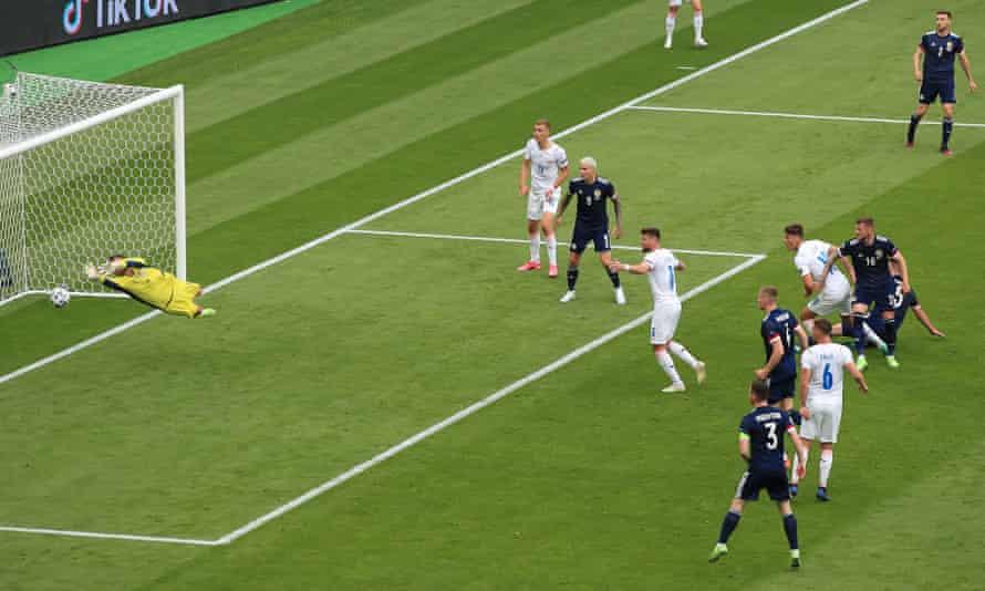 Patrik Schick heads past David Marshall for the Czech Republic's first goal against Scotland.