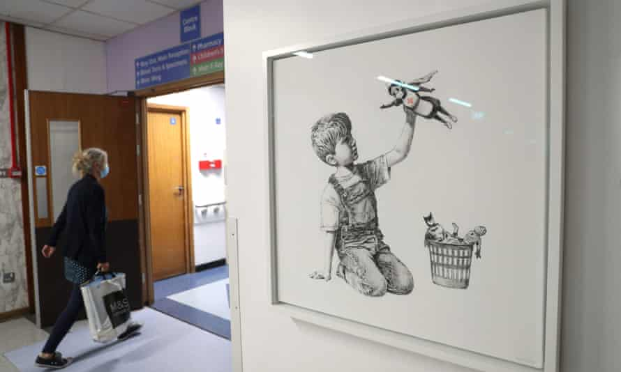 Banksy's Game Changer is seen in Southampton general hospital
