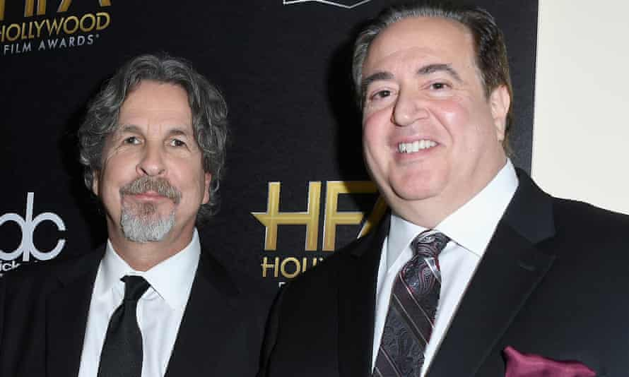 Peter Farrelly and Nick Vallelonga at the Hollywood Screenwriter awards in November.