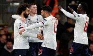 Mohamed Salah marks scoring Liverpool's third goal against Bournemouth.