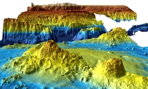 An undated supplied image from Geoscience Australia shows a computer generated three-dimensional view of the sea floor.