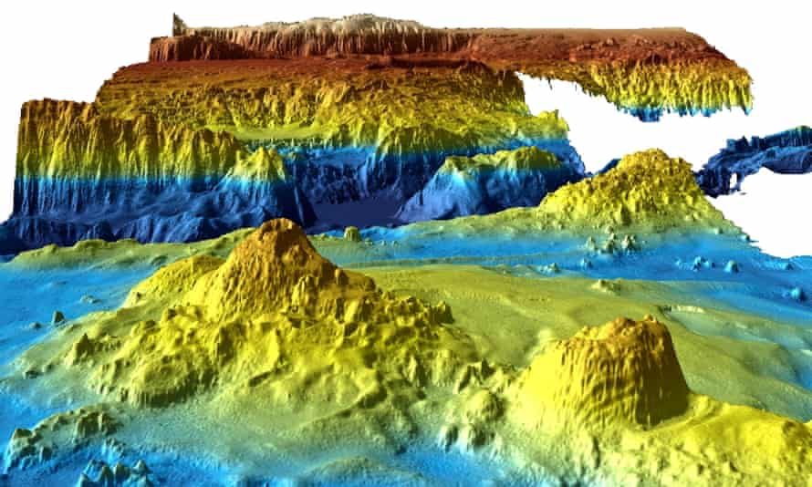 A computer-generated view of the Indian Ocean floor from mapping data collected during the search for MH370.