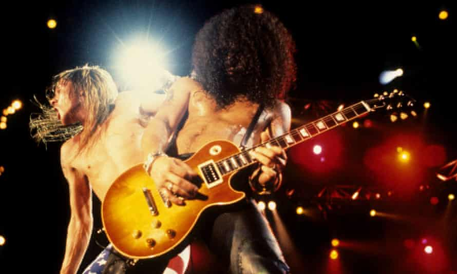 'Hilariously petulant' ... Axl Rose and Slash at Rock in Rio in 1991.