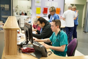 Dr Ben Arnold in the majors area of A&E at Royal Stoke University hospital.