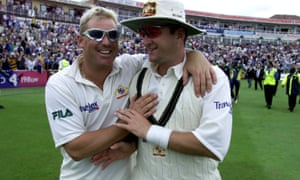 Shane Warne (left) and Mark Waugh celebrate winning the first Test of the 2001 Ashes at Edgbaston.