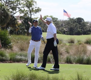 Japanese Prime Minister Shinzo Abe (L) and U.S. President Donald Trump at Trump International Golf club in West Palm Beach, Florida.