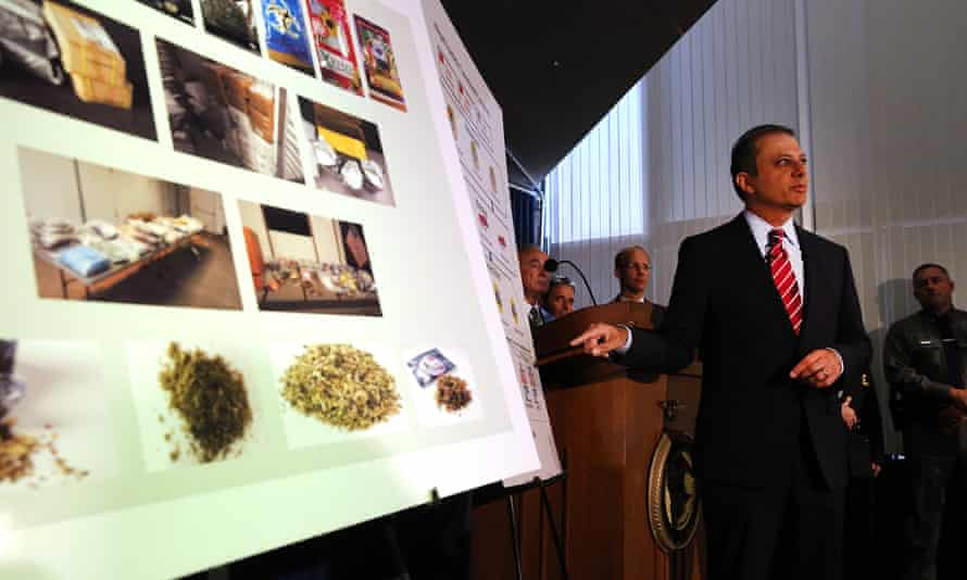 Preet Bharara, the US attorney for the southern district of New York, speaks at a news conference where it was announced that authorities had broken up a group that trafficked in 'synthetic marijuana'.