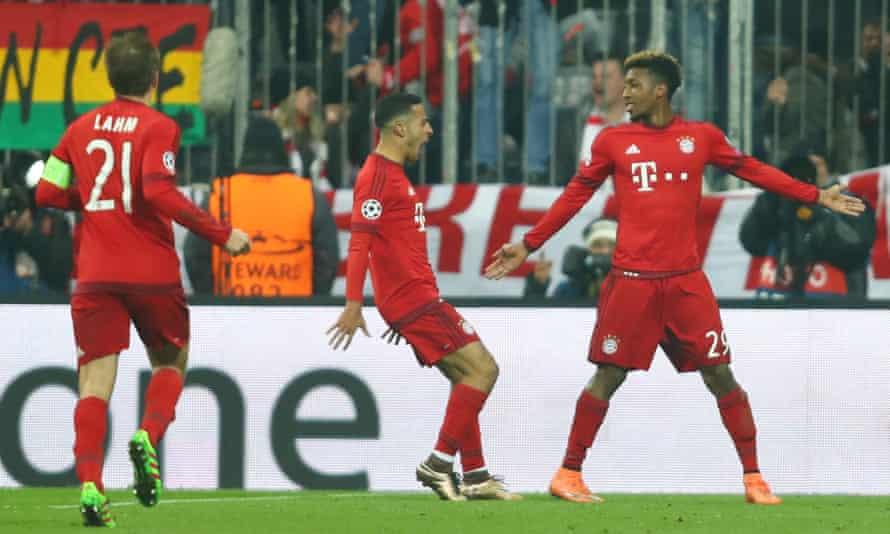 Bayern Munich's Kingsley Coman celebrates scoring against Juventus