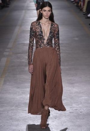 Long sleeves and hemlines at the Roberto Cavalli show, Spring Summer 2019, Milan fashion week.