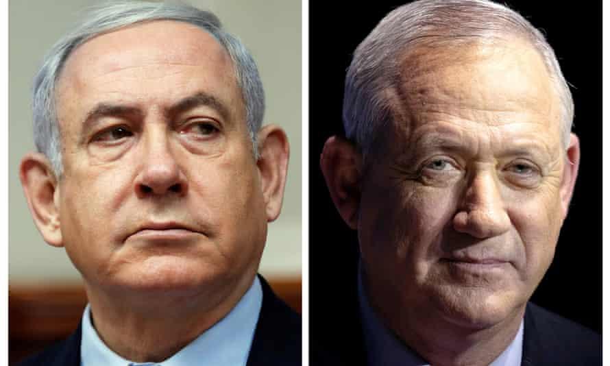 Composite of Benjamin Netanyahu (left) and his main rival Benny Gantz.
