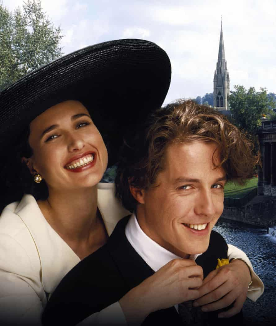MacDowell with Hugh Grant in Four Weddings and a Funeral.