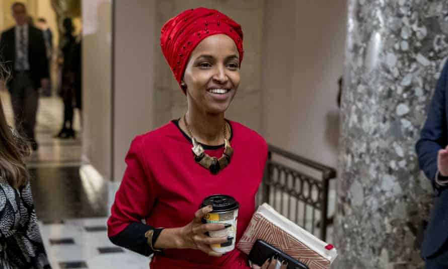 Ilhan Omar walks through the halls of the Capitol Building on 16 January.